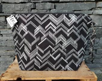 Project Bag | Knitting Bag | Knitting Project Bag | Zippered Project Bag | Wedge Bag | Sweater Knitting Bag | Silver Glitter