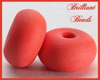 "Sunny Mango Coral Orange ""Sea Glass"" Spacer Bead Pair...Handmade Lampwork Beads SRA, Made To Order"