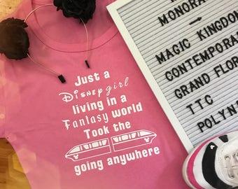 Just a Disney Girl monorail womens tee shirt Disneyland Disney World