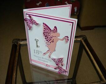 Happy Birthday Card/18th Birthday/Personalised/Handmade