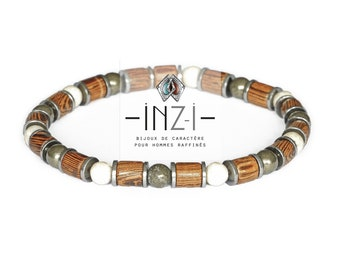 Bracelet made of wood, River stone, pyrite and hematite 6mm INZ - I - model Anthony