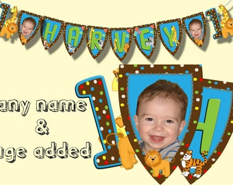 jungle fun birthday party banner bunting photo personalised