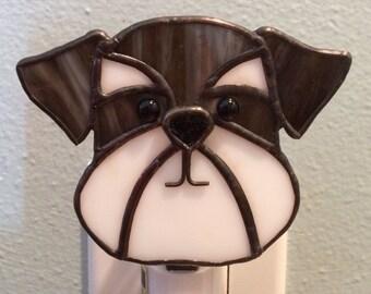 Glasmalerei Hund Nacht Licht Schnauzer