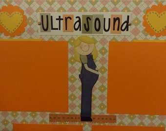 Ultrasound scrapbook page 12X12 first baby mom to be gifts heart