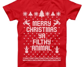 Merry Christmas Ya Filthy Animal Ugly Sweater Contest Retro Cute Basic Men's T-Shirt DB0002