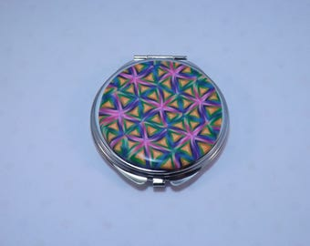 Polymer Clay Embellished Compact Purse Mirror, Colorful Kaleidoscope