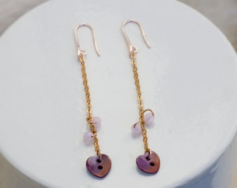 rose gold thin chain earrings with marsala heart button pendant and baby pink half crystals, long dangle earrings, minimal romantic earrings