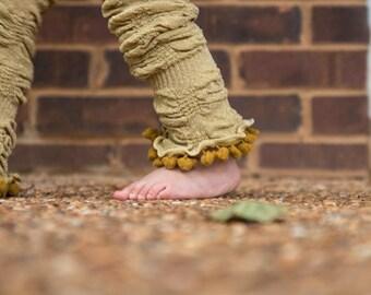 Metallic Glitter Gold Leg Warmers with Shimmy Pom Poms