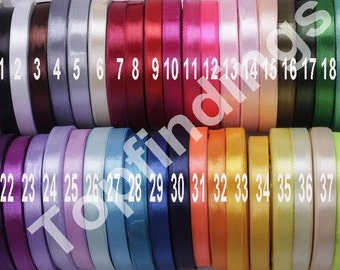 "U Pick! Full 39 colors  3/8"" 10mm Signle Faced Satin Ribbon Solid Color Weddings, crafts, hair bows"