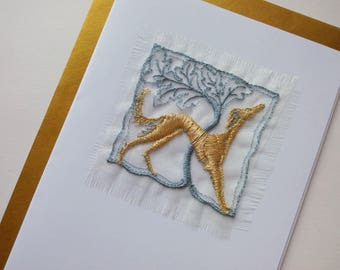 SALUKI, Greetings card, Embroidered, Free UK shipping, Textile onto paper, Blank for your own greeting, Dog lovers, Saluki lovers.