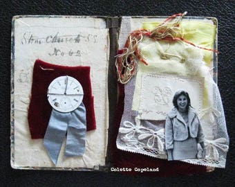 Collage assemblage on antique book covers, As Time Goes By