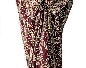 Sarong Pareo Womens or Mens Clothing Burgundy & Tan Gingko Leaf Beach Sarong Swimsuit Cover Up Summer Swimwear - Batik Sarong Wrap Skirt