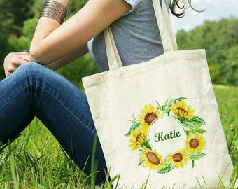 Sunflower Wedding Welcome Bag Personalized Wedding Rustic Wedding Gift Tote Bag Country Wedding Barn Wedding  Sunflower Tote Wedding Bag