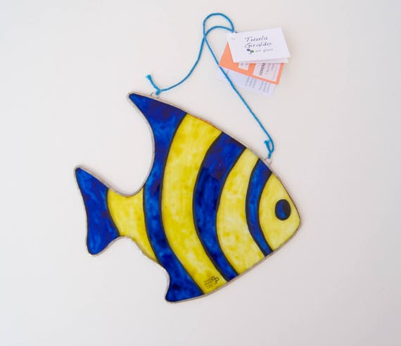 Fish - Tiffany - Stained Glass - Tropical - Aquarius - Window panel - Suncatcher - Wall hanging - Home decor - Ready To Ship