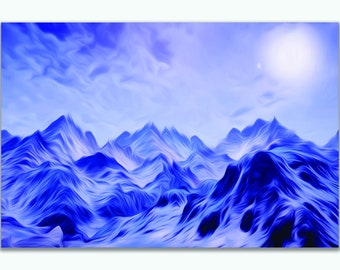 Snowy Mountain Oil Painting Canvas Print