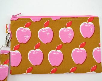 Apple Wristlet Wallet. Zipper Pouch Wallet, Cell Phone Wristlet, Gift for Her, Gift for Mom