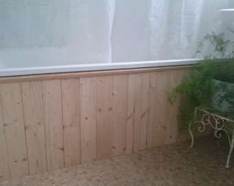 Bath panel - wooden tongue and groove classic design - in raw timber