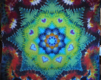"Tie Dye heart mandala on cotton lawn (with embroidered scalloped edging)  71"" x 57"" twilightdance"