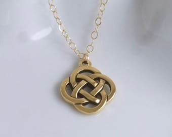 Irish love knot etsy celtic knot necklace 14k gold filled chain luck irish eternity never ending lovefaithloyaltyfriendshipscottishmothers day gift aloadofball Image collections