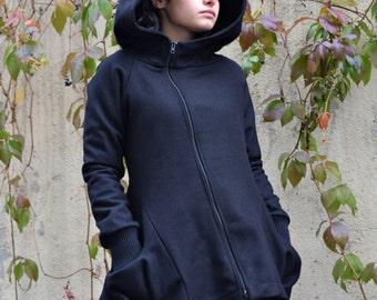 Winter Coat Black, Wool Coat, Womens Coat, Black Coat, Asymmetrical Coat, Big Hood Coat, Black Hooded Coat, Designer Coat, Winter Coat Women