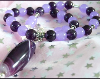 Purple Passion 16 3/4in Necklace Amethyst, Purple Jade and Purple Agate with Sterling Silver