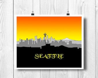 SEATTLE art, Seattle skyline, Seattle print, Seattle silhouette, Space needle outline print, Seattle Washington decor.