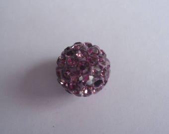 Lilac with Rhinestone disco ball bead