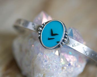 Turquoise Cuff, Montana Agate Sterling Silver Cuff Bracelet... Kismet... Heart & Sky Edition...