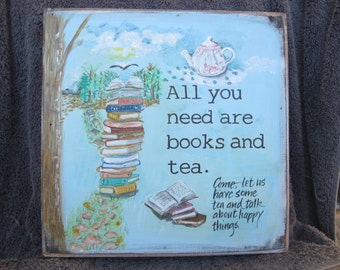 "TEA ART, tea sign, book art, kitchen art, kitchen decor, 10"" x 10"", wood art, tea, wall art, tea lover gift,housewarming,book lover gift"