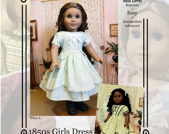 """PDF Pattern KDD01 """"1850s Girl's Dress""""- An Original KeepersDollyDuds Design, makes 18"""" Doll Clothes"""