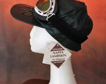 Dieselpunk steampunk leather cap with flying goggles