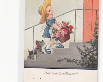 Charming Girl Blue Dress-Apron-Straw Hat-Carrying Basket Of Flowers-Her Scotty Scottish Terrier Dog  Follows Her Vintage Postcard