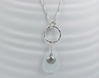 Pale Green Sea Glass Pendant Necklace with a Sea Shell Charm