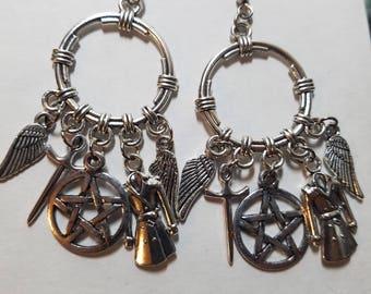 Supernatural Earrings | Castiel Earrings | Silver Supernatural Earrings | Charm Earrings | Magical Earrings | Gothic Earrings | Steampunk