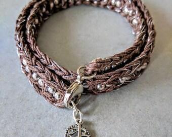 Crew neck or bracelet, unique, handmade crochet Brown linen cord, thread silk black and silver, Tibetan silver beads, woman