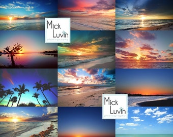 MickLuvin Set 4: 12 Gorgeous Beachscapes Real Sky Overlays - Photoshop Portrait Enhancement Tools Cloud Overlay Textures
