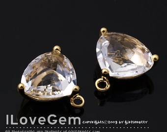 SALE 20% off // 10pcs of  NP-993 Gold Plated, Trilliant Cut, Clear, Glass pendant, Framed glass, Faceted glass Pendant