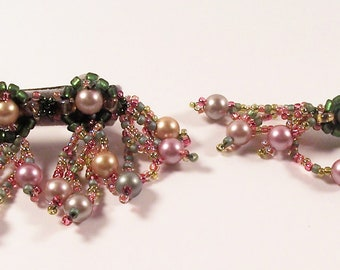 Web of Pearls Barrette and Pin, Beading Tutorial in PDF