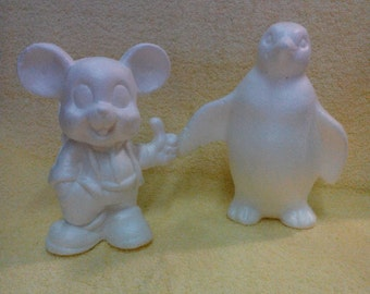 Figurine, Styrofoam, Choice -  Penguin or Mouse, Made in Italy, Vintage