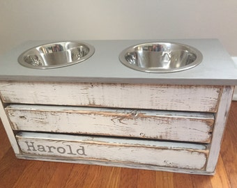 Gray Distressed Dog Feeder with Storage/Small/Medium Sized Dogs/Elevated Stand