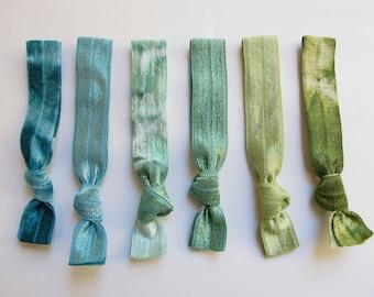 My Tyes Jade Mountain Package, 6 Original Tie Dye Hair Ties that Double as Bracelets