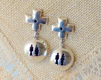 Sterling Silver Signed Annie Kajiya Earrings Vintage Modernist  Shadow Box People Stud Dangle Earrings, Dangle Puffy Cross Pierced Earrings