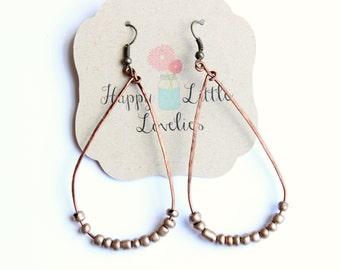 Copper Teardrop Beaded Earrings