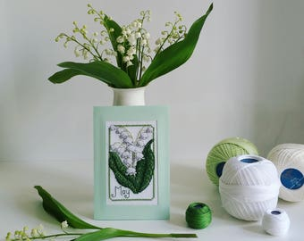 """Handmade Cross Stitched Postcard """"May"""" from Flowers of the Month series"""
