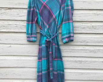 1970s Plaid, 3/4 Sleeve, Belted Dress