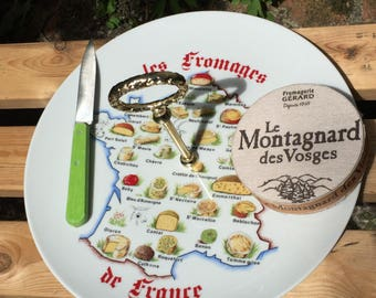 French Ceramic Cheese Board. Cheese Tray Plate. Cheese Platter. 'Les Fromages de France' Cheeses of France Map of France. Winterling Bavaria