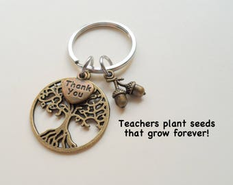 Bronze Tree Keychain, Appreciation Keychain, Teacher Appreciation Gift, Teacher Gift, School Staff Gift, Gift for School Volunteers, PTA