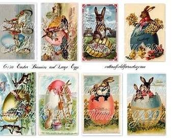 Easter Bunnies and Large Eggs Digital Collage Sheet C-130 Vintage Easter Postcard images