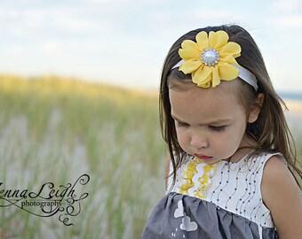 Yellow Headband, Yellow Flower Girl Headband, Yellow Flower Headband, Yellow Newborn Headband, yellow Birthday Headband,yellow baby Headband