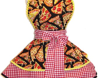 I LOVE Pizza Retro-Influenced Pinup Apron/Retro Apron/Woman's Apron/Rockabilly/50s Style/Diner Apron/Party Apron/Hostess Apron
